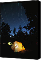 Gesturing Canvas Prints - Time Exposure Of A Campers Tent Canvas Print by Rich Reid