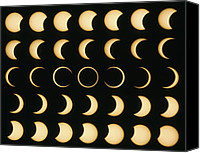 Solar Eclipse Canvas Prints - Time-lapse Image Of A Solar Eclipse Canvas Print by Dr Fred Espenak