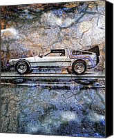 Time Travel Canvas Prints - Time Machine or The retrofitted DeLorean DMC-12 Canvas Print by Bob Orsillo