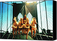 Photo-realism Canvas Prints - Time Machine - Roman Horses on Brooklyn Bridge New York - Fantasy Art Canvas Print by Peter Art Prints Posters Gallery