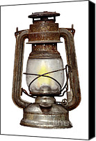 Oil Lamp Canvas Prints - Time Worn Kerosene Lamp Canvas Print by Michal Boubin