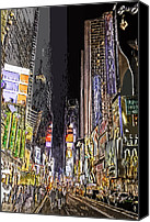 Times Square Digital Art Canvas Prints - Times Square Abstract Canvas Print by Robert Ponzoni