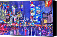 Photomanipulation Pyrography Canvas Prints - Times Square Canvas Print by Bill Unger