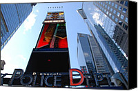 Times Square Digital Art Canvas Prints - Times Square Cops Canvas Print by Rob Hans