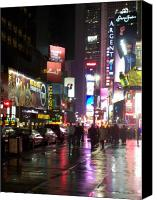 Times Square Photo Canvas Prints - Times Square in the rain 1 Canvas Print by Anita Burgermeister