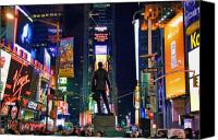 Times Square Photo Canvas Prints - Times Square Canvas Print by June Marie Sobrito