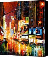 Afremov Canvas Prints - Times Square Canvas Print by Leonid Afremov