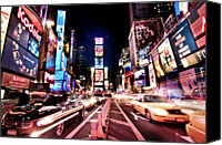 Taxi Canvas Prints - Times Square, Manhattan, New York Canvas Print by Josh Liba