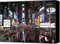 Cities Digital Art Canvas Prints - Times Square Canvas Print by Mike McGlothlen