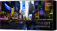 Times Square Digital Art Canvas Prints - Times Square Nyc Canvas Print by Moz Art