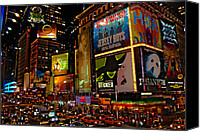 Night Photo Canvas Prints - Times Square Canvas Print by Randy Aveille