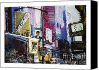 Manhattan Pastels Canvas Prints - Times Square Remembered Canvas Print by Barry Rothstein