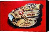 Baseball Mitt Canvas Prints - Tims Glove Canvas Print by Jame Hayes