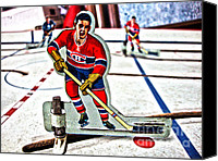 Vintage Hockey Player Canvas Prints - Tin Canadien Canvas Print by Nathan  Brend