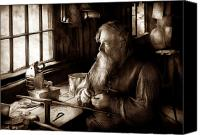 Santa Claus Canvas Prints - Tin Smith - Making toys for Children - Sepia Canvas Print by Mike Savad