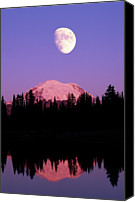 Montana Canvas Prints - Tipsoo Lake And Full Moon At Mount Ranier National Park In Washington Canvas Print by Steve Satushek