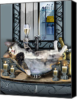 Animal Greeting Card Canvas Prints - Tipsy kitty taken a bubble bath by candlelight  Canvas Print by Gina Femrite