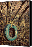 Turquoise And Rust Canvas Prints - Tire Swing Canvas Print by Tony Grider
