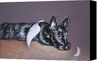 Terrier Canvas Prints - Tired angel Canvas Print by Elena Kolotusha