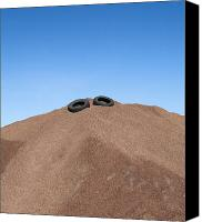 Garbage Canvas Prints - Tires on Pile of Gravel Canvas Print by Paul Edmondson