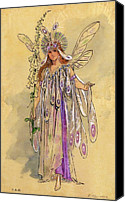 Fairies Drawings Canvas Prints - Titania Queen of the Fairies A Midsummer Nights Dream Canvas Print by C Wilhelm