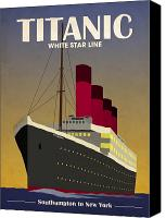 Art Deco Canvas Prints - Titanic Ocean Liner Canvas Print by Michael Tompsett
