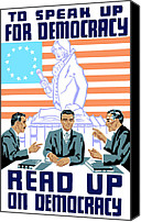 War Effort Canvas Prints - To speak up for democracy Read up on democracy Canvas Print by War Is Hell Store