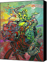 Figurative Canvas Prints - To The Beat On 2nd Street Canvas Print by Larry Poncho Brown