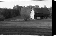 Farming Barns Canvas Prints - Tobacco Barn in black and white Canvas Print by JD Grimes