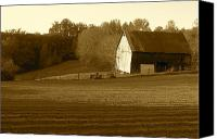 Farming Barns Canvas Prints - Tobacco Barn in Sepia Canvas Print by JD Grimes