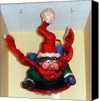 Winter Sculpture Canvas Prints - Tobagganing Boy Canvas Print by Alison  Galvan