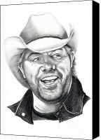 Country Drawings Canvas Prints - Toby Keith Canvas Print by Murphy Elliott