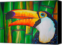 Silk Postcard Tapestries - Textiles Canvas Prints - Toco Toucan Canvas Print by Daniel Jean-Baptiste