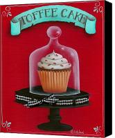 Cake-stand Canvas Prints - Toffee Cake Cupcake Canvas Print by Catherine Holman