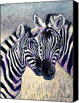 Zebra Pastels Canvas Prints - Together Canvas Print by Arline Wagner