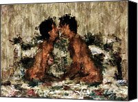 Kissing Canvas Prints - Together Canvas Print by Kurt Van Wagner