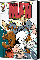 Comic. Marvel Canvas Prints - Toilet Paper Man Canvas Print by Dan Fluet