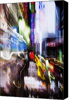 Energetic Canvas Prints - Tokyo Color Blurs Canvas Print by Bill Brennan - Printscapes