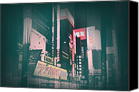 City Streets Canvas Prints - Tokyo Lights Canvas Print by Irina  March