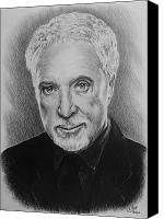Person Drawings Canvas Prints - Tom Jones Canvas Print by Andrew Read