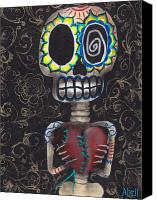 Sugar Skull Painting Canvas Prints - Toma mi Corazon Canvas Print by  Abril Andrade Griffith