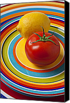 Foodstuff Canvas Prints - Tomato and lemon  Canvas Print by Garry Gay