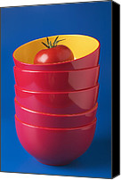Foodstuff Canvas Prints - Tomato In Stacked Bowls Canvas Print by Garry Gay