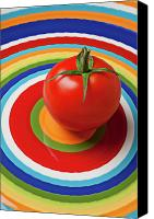 Tomatoes Tapestries Textiles Canvas Prints - Tomato on plate with circles Canvas Print by Garry Gay