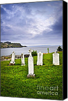 Graveyard Canvas Prints - Tombstones near Atlantic coast in Newfoundland Canvas Print by Elena Elisseeva