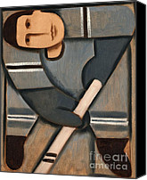 Hockey Painting Canvas Prints - Tommervik Cubism Hockey Player Canvas Print by Tommervik