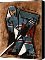 Hockey Canvas Prints - Tommervik Hockey Player Canvas Print by Tommervik