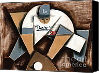 Baseball Canvas Prints - Tommervik Los Angeles Dodgers Baseball Player Canvas Print by Tommervik