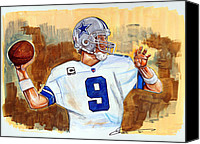 Dallas Cowboys Canvas Prints - Tony Romo Canvas Print by Dave Olsen