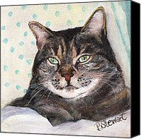 Tabby  Painting Canvas Prints - Tonys Grey Tabby Cat Canvas Print by Penny Stewart
